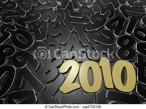 New Year\'s date among scattered figures.  - csp2752108