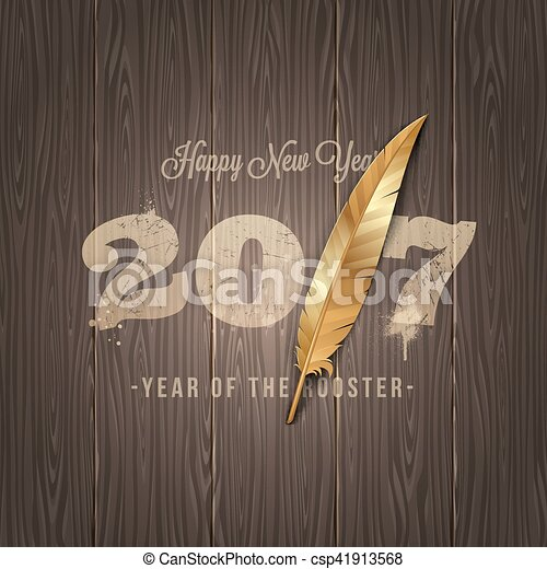 New years greeting with golden horn of a sheep on a wooden surface - vector illustration - csp41913568