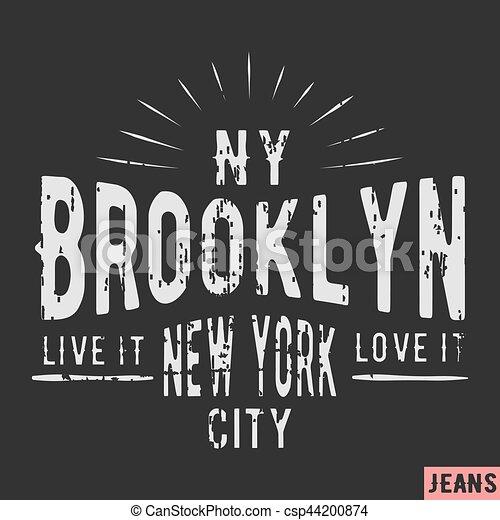 New York Brooklyn vintage stamp - csp44200874