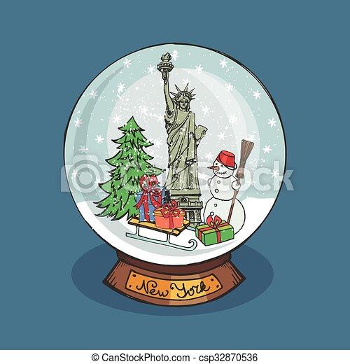 Vintage Christmas Snow Globes.New York Christmas Snow Globe