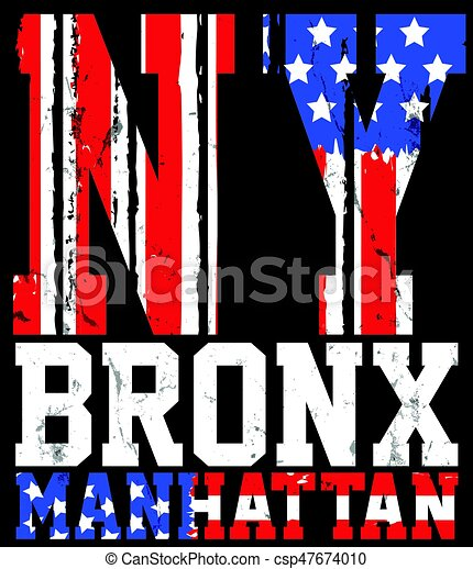 New York City america flag vector print and varsity. For t-shirt or other uses in vector.T shirt graphic - csp47674010