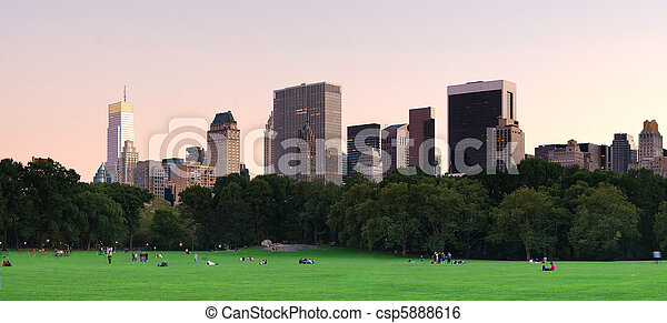 New York City Central Park at dusk panorama - csp5888616