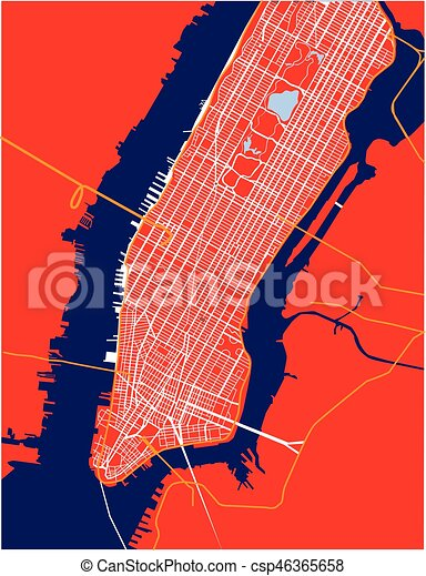 New York City Lower And Mid Manhattan Vector Map Red