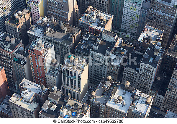 New York City Manhattan Aerial View With Buildings Roof