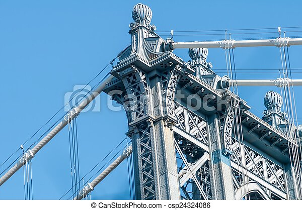 new york city manhattan bridge and skyline - csp24324086
