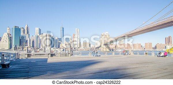 new york city manhattan bridge and skyline - csp24326222
