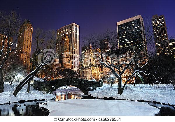 New York City Manhattan Central Park panorama at dusk - csp6276554