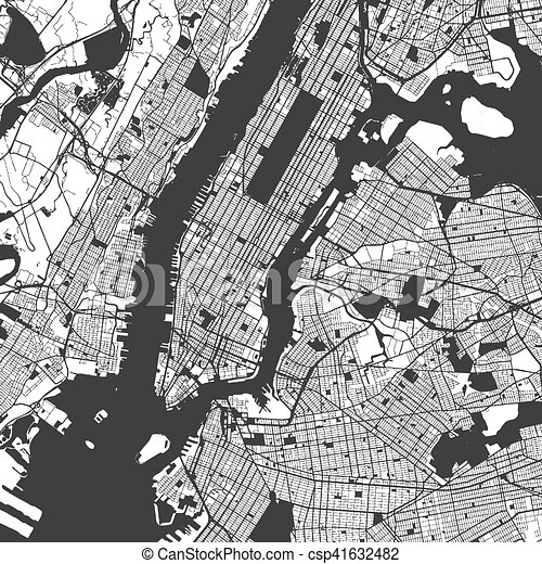 New York City Manhattan One Color Map Vector Outline Version Ready