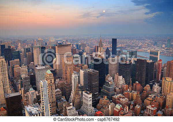 New York City Manhattan skyline aerial view - csp6767492