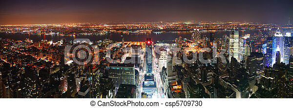 New York City Manhattan skyline aerial view panorama at sunset  - csp5709730