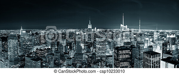 New York City Manhattan skyline at night  - csp10233010
