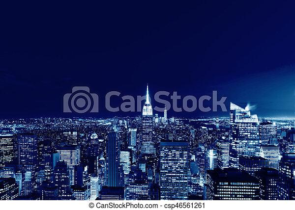 New York City Manhattan skyline panorama at night, USA - csp46561261