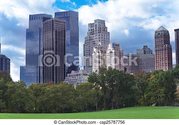 New York City Manhattan skyline panorama viewed from Central Par - csp25787756