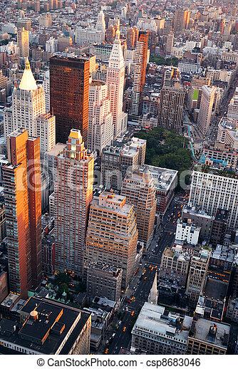 New York City Manhattan street aerial view - csp8683046