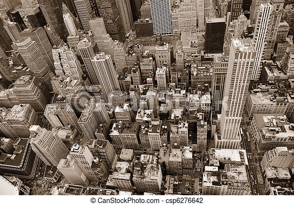 New York City Manhattan street aerial view black and white - csp6276642