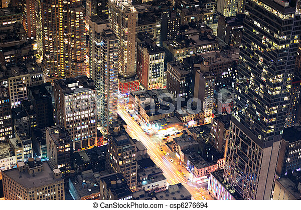New York City Manhattan street aerial view at night - csp6276694