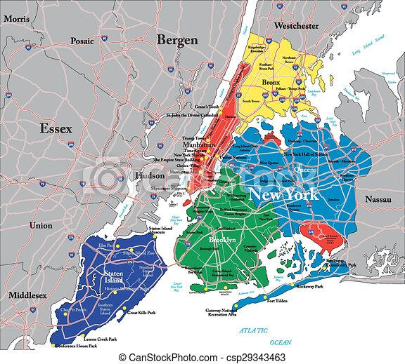 Map Of New York Five Boroughs.New York City Map