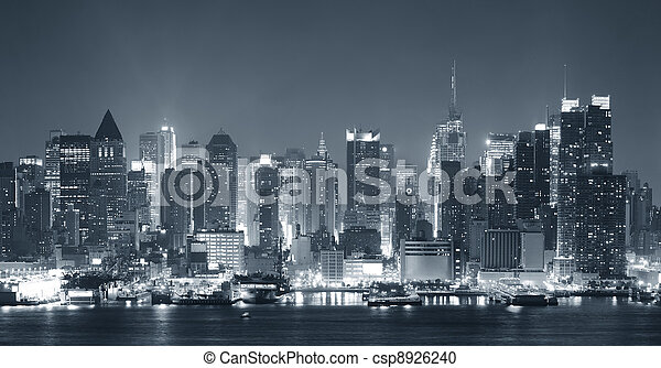 New York City nigth black and white - csp8926240