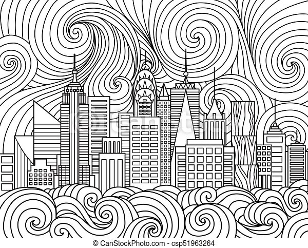 Cartoon City Skyline Coloring Page : Coloring Sun | 367x450