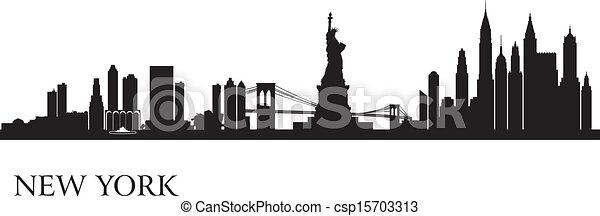 New York city skyline silhouette background - csp15703313