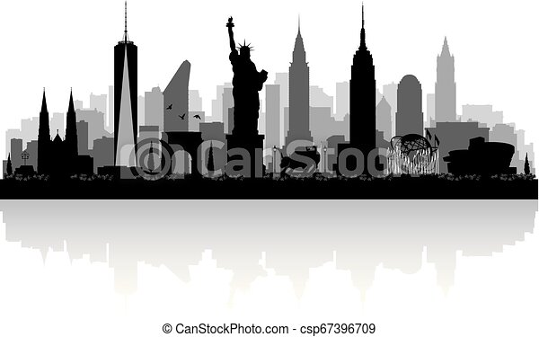 New York city skyline silhouette - csp67396709