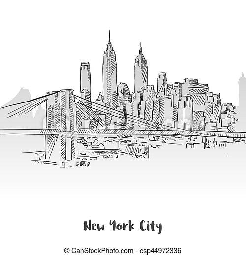 new york city skyline sketch hand drawn vector outline artwork