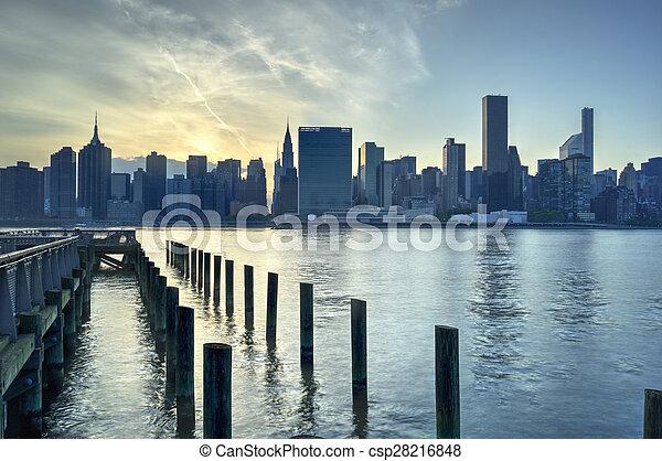 New York City Skyline Sunset - csp28216848