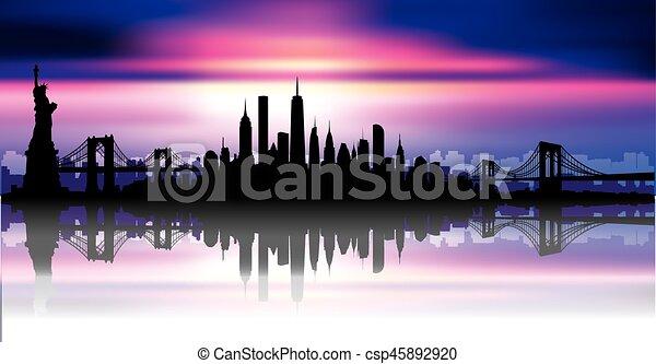 New York City Skyline Vector Vector Of The New York Skyline