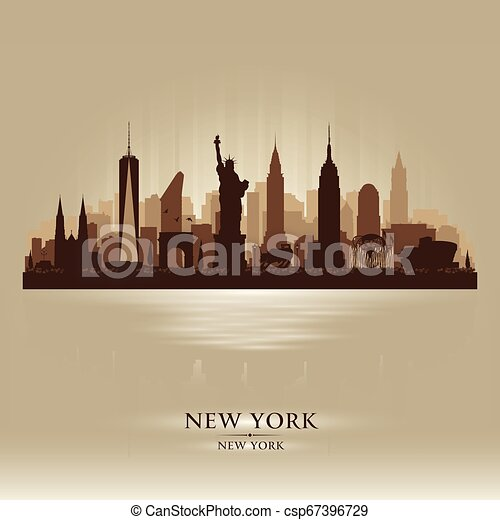 New York city skyline vector silhouette - csp67396729