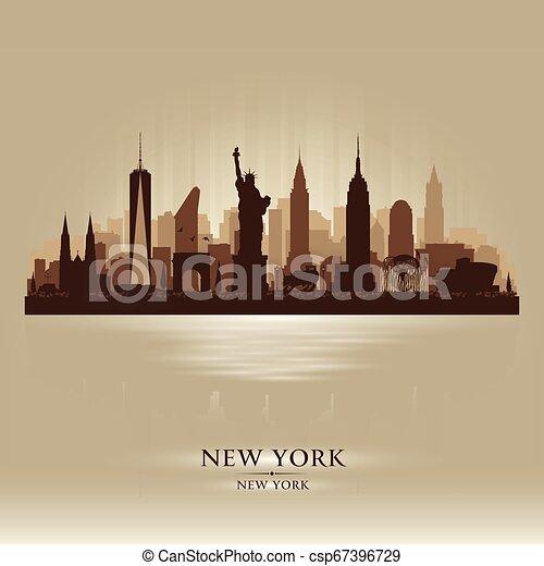 New York city skyline vector silhouette - csp67396729