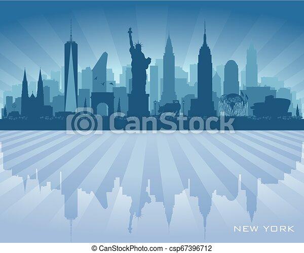 New York city skyline vector silhouette - csp67396712