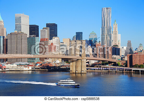 New York City skyline with Brooklyn Bridge - csp5888538