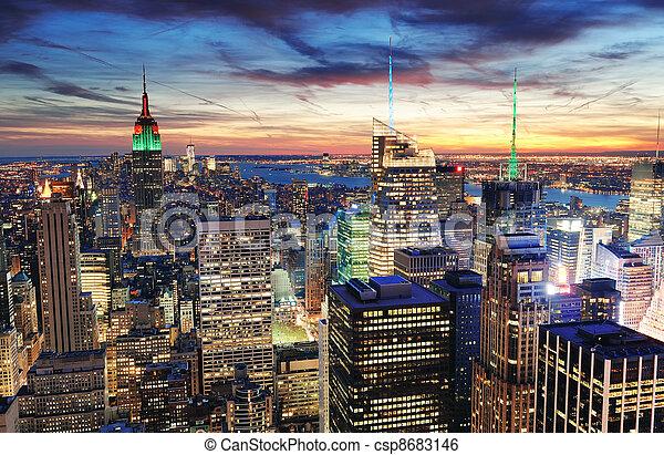 New York City sunset - csp8683146