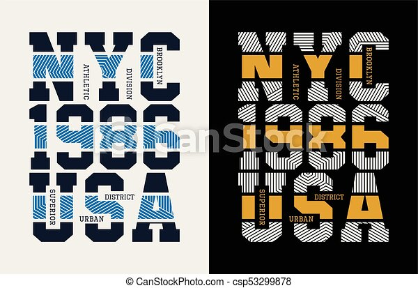 T Shirt Design Line Art : New york city t shirt printing design. vectors