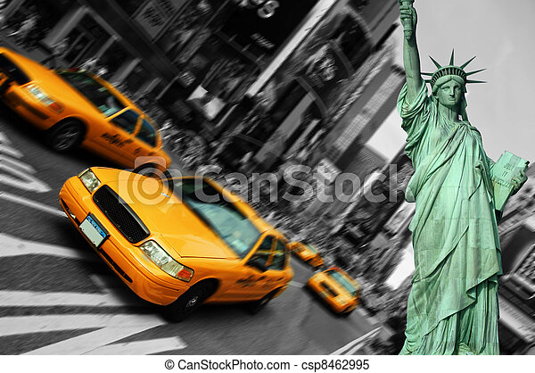 new york city, times square, taxi focus motion blur - csp8462995