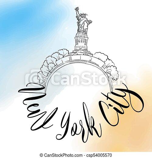 New York City travel logo - csp54005570