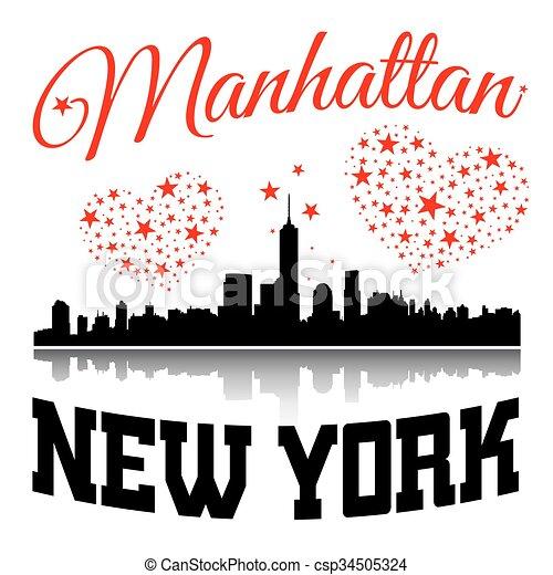 New York City Typography Graphic With Hearts And Stars New York City Typography Graphic Hearts And Stars Skyline Manhattan