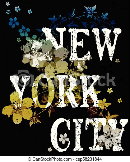 New york city typography poster fashion design with flowers - csp58231844