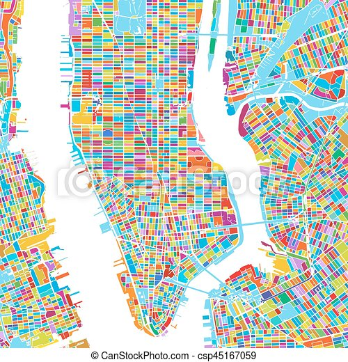 New york city, usa, colorful vector map, printable outline version Free Printable Map Of New York City on