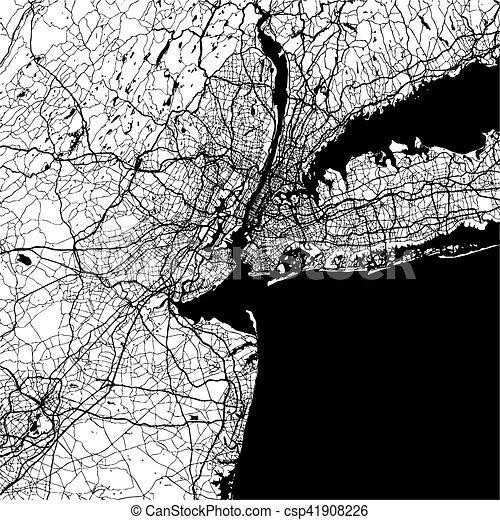 New York City, USA, Monochrome Map Artprint - csp41908226