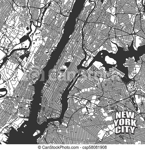Cartoon Map Of New York City.New York City Vector Map Very Detailled Version Without Bridges And