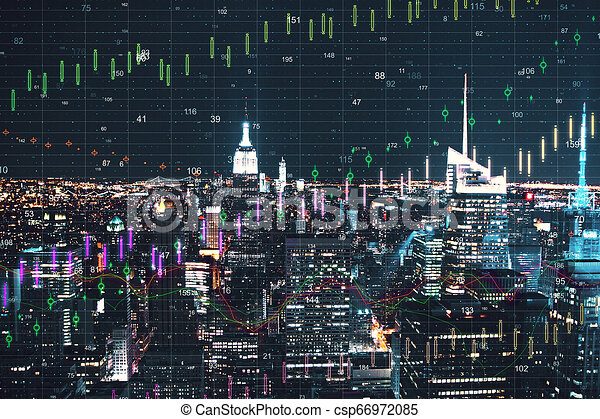 New York City With Forex Wallpaper Night New York City Wallpaper With Forex Chart Invest And Trade Concept Double Exposure