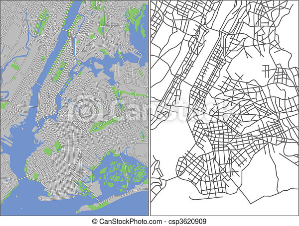 Illustration City Map Of New York In Vector