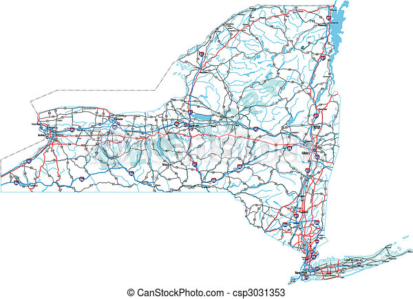New york interstate road map New york state interstate us