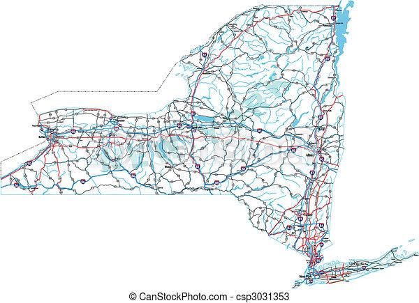New York Interstate Road Map - csp3031353