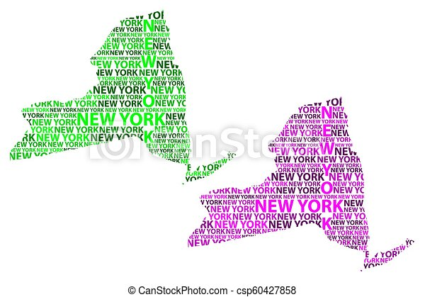 State Of New York Map.Sketch New York United States Of America Letter Text Map New York