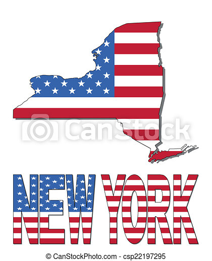 New York map flag and text - csp22197295