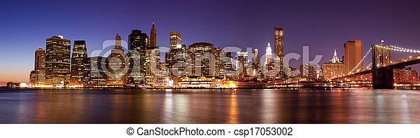 New York - Panoramic view  of Manhattan Skyline by night - csp17053002