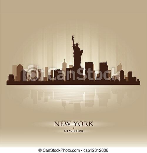 New York skyline city silhouette - csp12812886