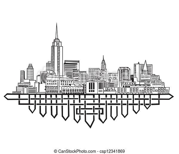 New york skyline black and white vector illustration eps 8
